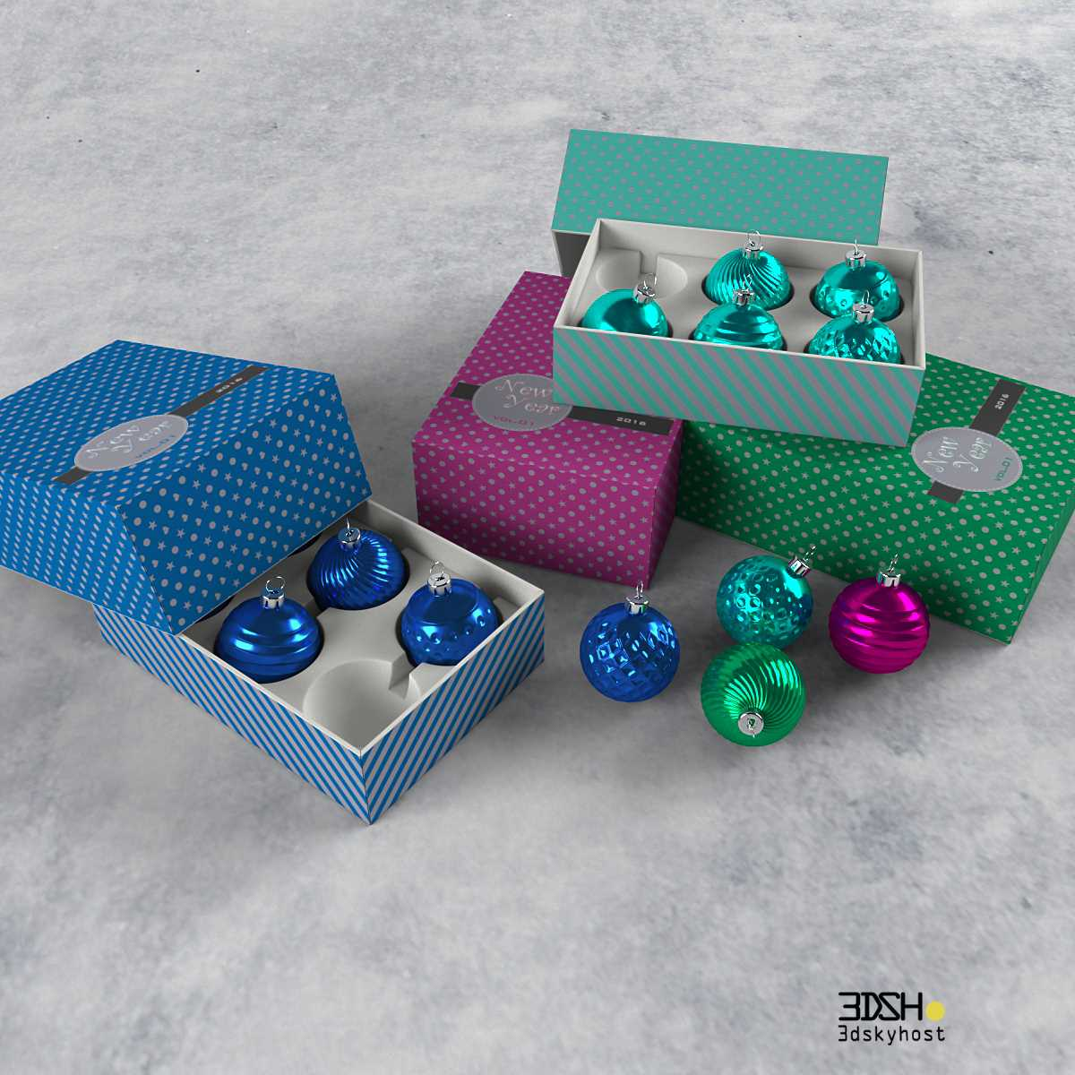 Decorative set of Christmas toys 3d model