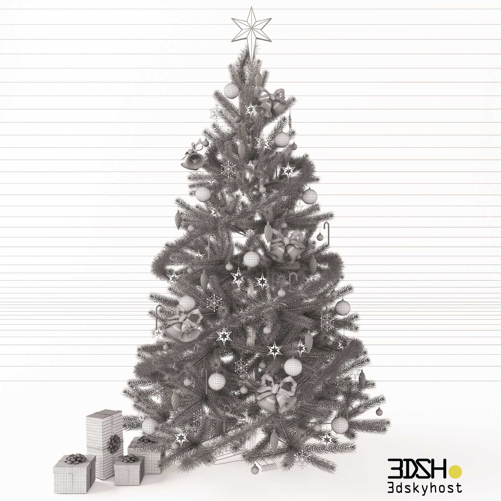 3dSkyHost: Christmas tree with gifts 3d model