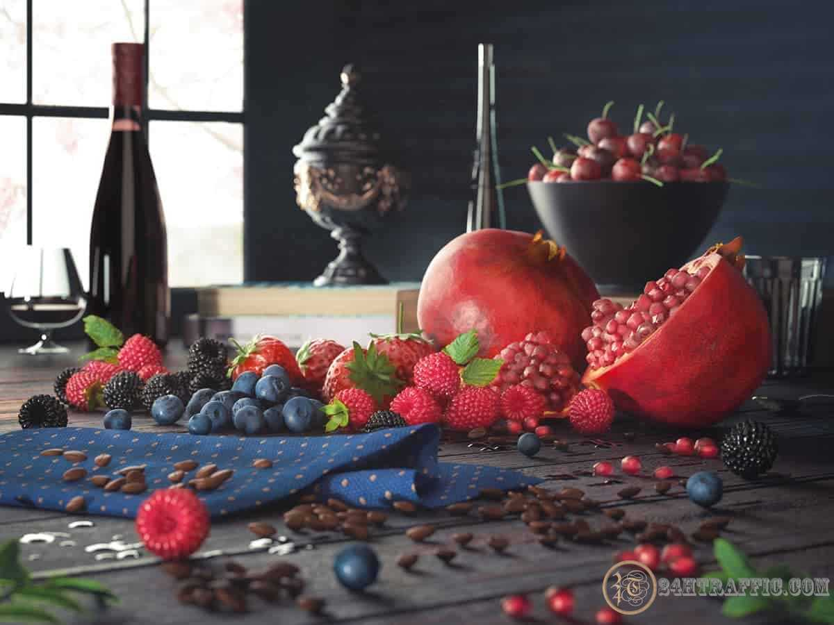 3dSkyHost: Free 3D Models Berries Pomegranate CGI from John Zaki