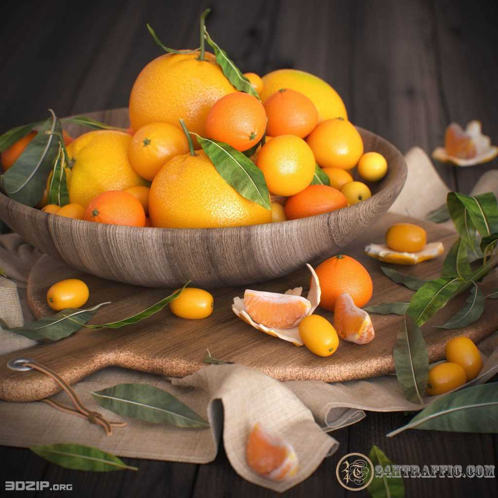 3dSkyHost: 3D Tangerines Model 11 free download