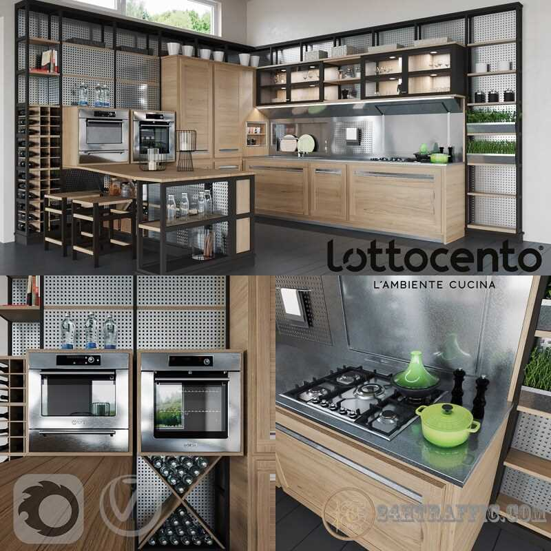 3dSkyHost: 3D Model LottoCento Kitchen 84 Free Dowload