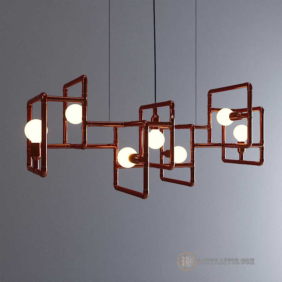 3dSkyHost: Free Model 3D Ceiling Light Vertigo Industrial Copper
