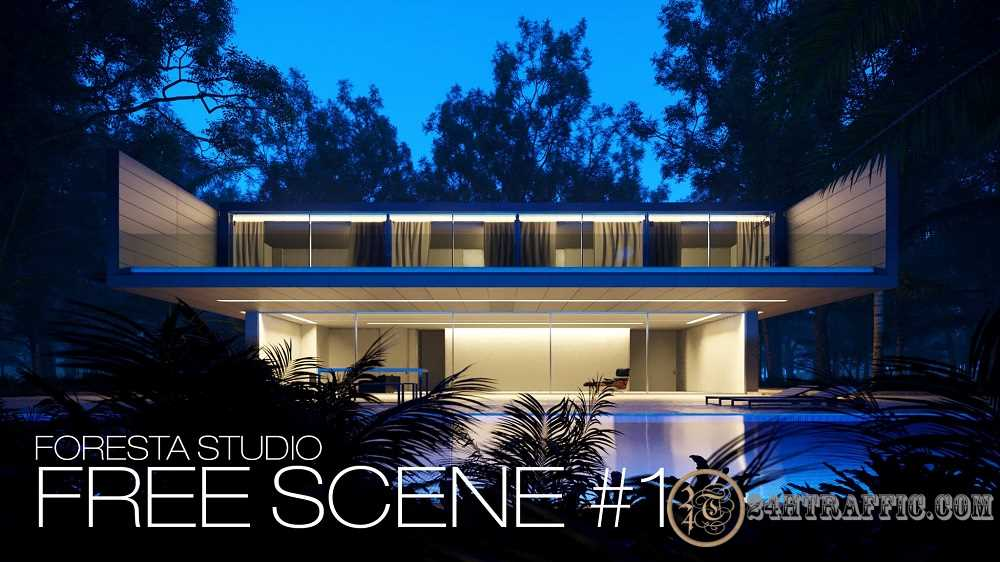 3dSkyHost: Aluminum House-Free Scene From Foresta Studio