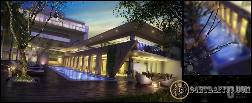 3dSkyHost: Free 3D Exteriors Hotel With Swimming Pool File 3dsmax