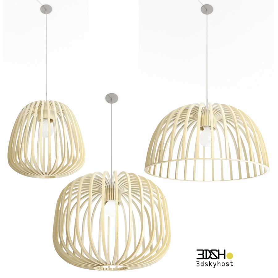 3dSkyHost: 3D Model Wooden Pendant Lamps free download