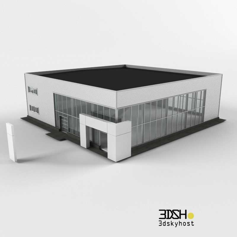 3dSkyHost: 3d model Building a car dealership free download