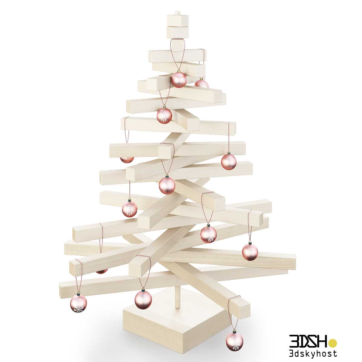 3dSkyHost: 3D Model Christmas tree made of wood free download