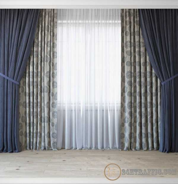 3dSkyHost: 3D Model Curtains With Tulle Set 3 In 1 free download