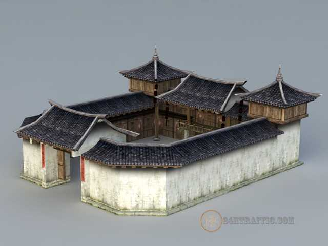 3dSkyHost: 3d model Rich Traditional Chinese Courtyard House free download